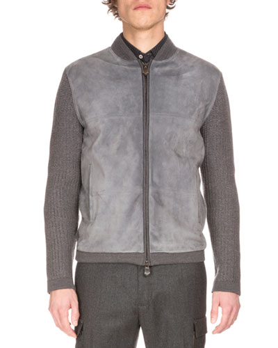 Zip-Up Suede-Front Wool Cardigan, Fossil