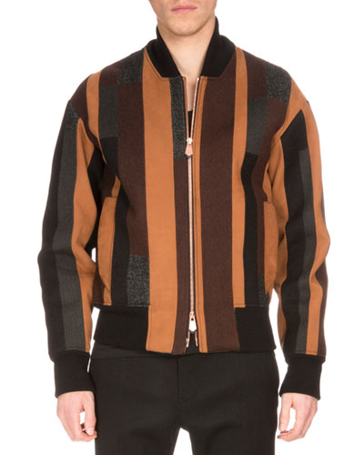 Striped Wool-Blend Bomber Jacket, Brown