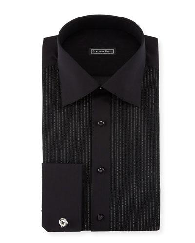 Metallic-Pleated Tuxedo Shirt, Black