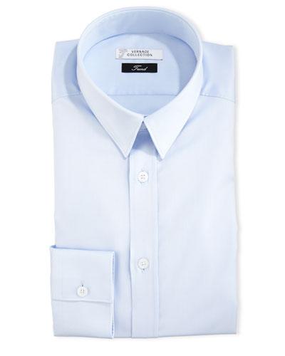 Button-Front Textured Dress Shirt, Light Blue