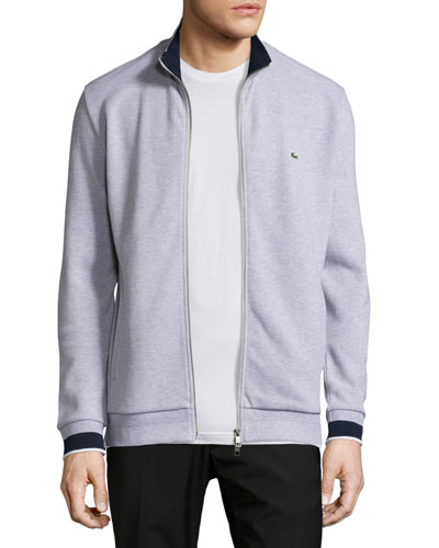 Semi-Fancy Piqué Front-Zip Sweater, Silver Chine/Navy