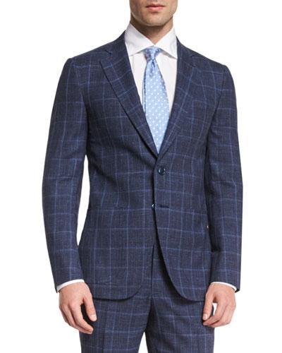 Gregory Melange Windowpane Two-Piece Suit, Navy