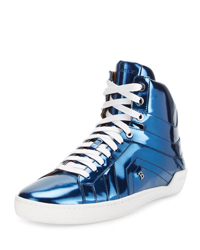 Eticon Metallic Leather High-Top Sneaker, Blue