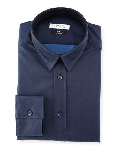 Button-Front Textured Dress Shirt, Dark Blue