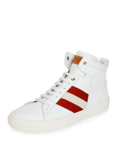 Hedern Trainspotting Stripe Mid-Top Sneaker, White