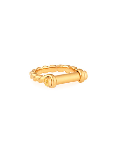 7mm 18K Gold Maritime Shackle Ring, Men's Size 10