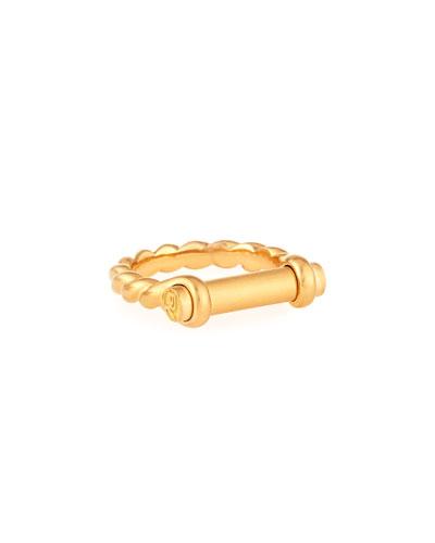 7mm 18K Gold Maritime Shackle Ring, Men's Size 10