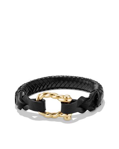 Men's Maritime 18K Gold Woven Leather Bracelet