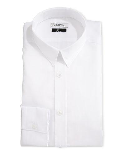 Tonal Barleycorn Button-Front Dress Shirt, White