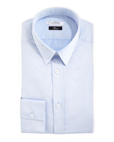 Tonal Barleycorn Button-Front Dress Shirt, Light Blue