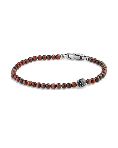 Men's Spiritual Beads Skull Bracelet with Red Tiger's Eye