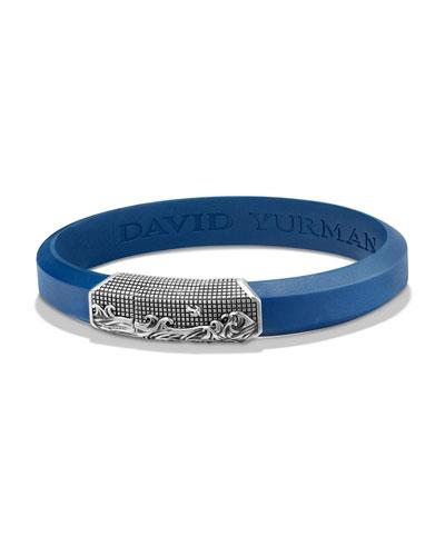 Men's Waves Rubber ID Bracelet, Blue