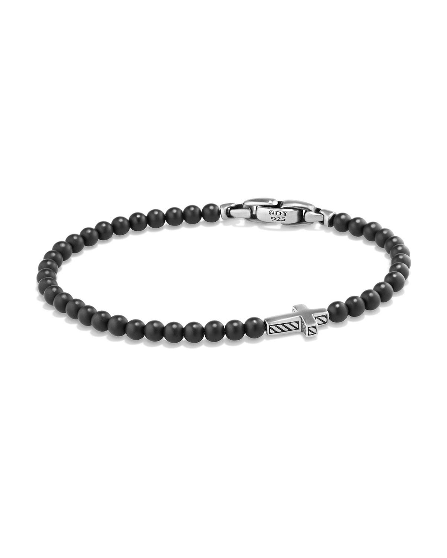 Men's Cross Station Bead Bracelet in Black Onyx