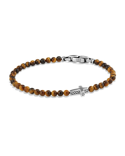 Men's Cross Station Bead Bracelet in Tiger's Eye