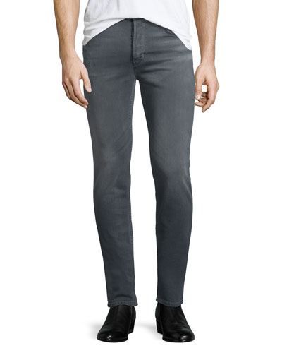 Sartor Powerlines Skinny-Leg Denim Jeans, Dark Gray