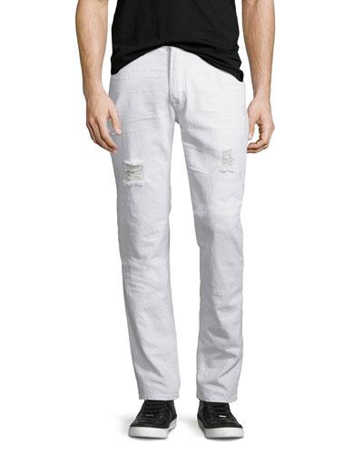 Sartor Thrasher Slouchy Skinny-Leg Denim Jeans, White