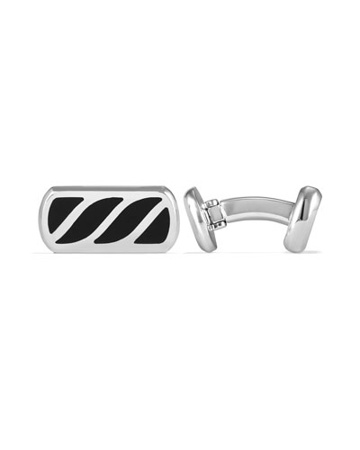 Men's Sterling Silver & Onyx Cable Cuff Links