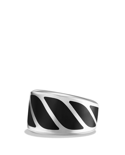 Men's Graphic Cable Band Ring w/Black Onyx