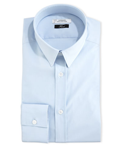 Button-Front Solid Dress Shirt, Baby Blue
