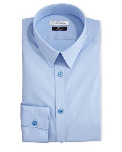 Button-Front Solid Dress Shirt, Light Blue