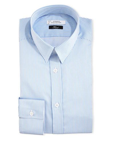 Two-Tone Striped Dress Shirt, White/Blue