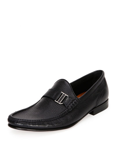 Suver Leather Moc-Toe Loafer, Black
