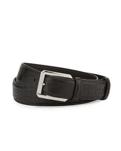 Crocodile Belt w/Palladium Buckle, Black