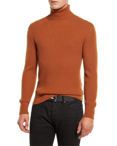 Ribbed Turtleneck Sweater, Brown