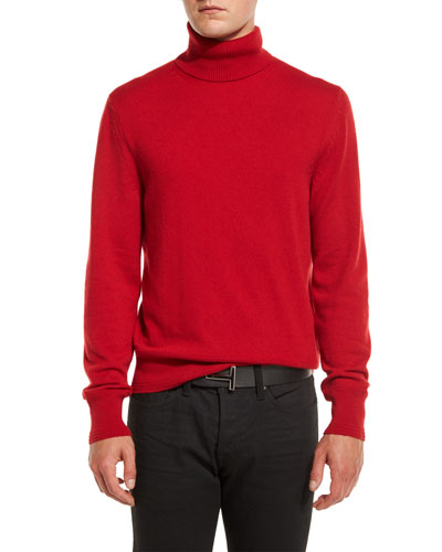 Classic Flat-Knit Cashmere Turtleneck Sweater, Ferrari Red