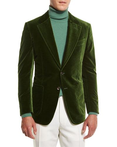 Shelton Base Velvet Sport Jacket, Grass Green