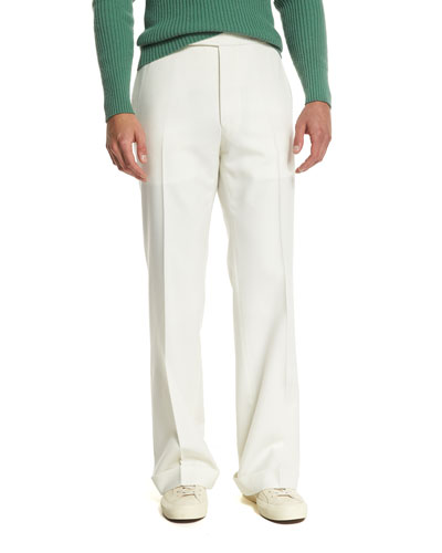 Solid Flat-Front Wool Trousers, Ivory
