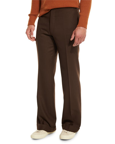 Solid Flat-Front Wool Trousers, Brown