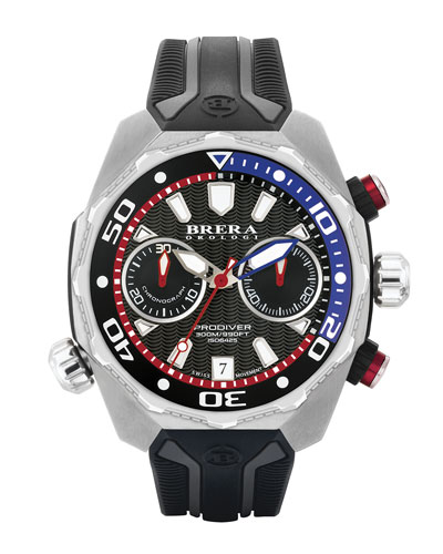 47mm ProDiver Chronograph Watch with Rubber Strap, Black/Silver