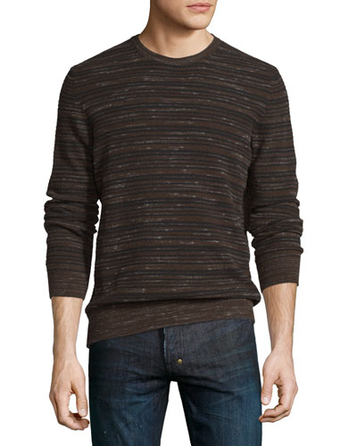 Blurred-Stripes Merino Wool Long-Sleeve Sweater
