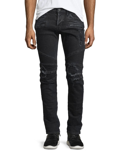Blinder Biker Distressed Moto Jeans, Black