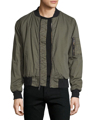 Jet Puffer Bomber Jacket, Army Green