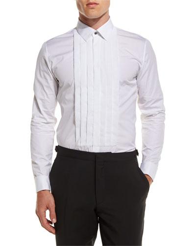 Pleated-Bib Tuxedo Shirt, White