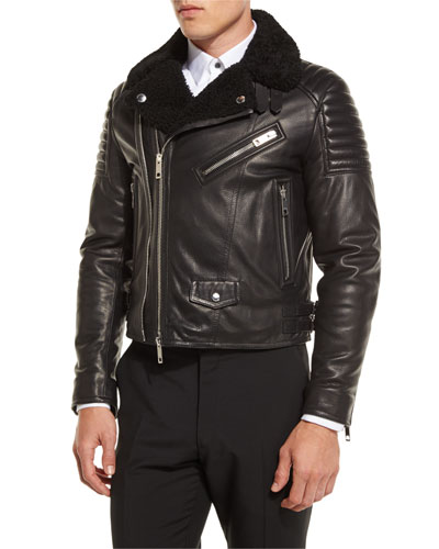 Leather Shearling Fur-Lined Moto Jacket, Black