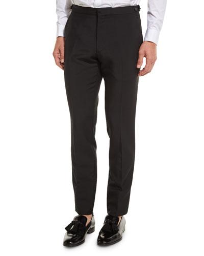 Wool-Mohair Tuxedo Trousers, Black