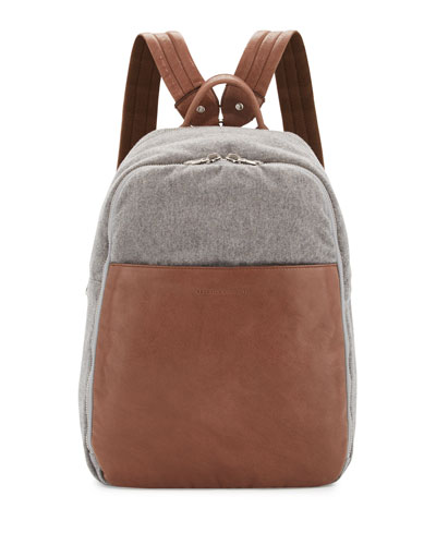 Men's Leather & Wool-Cashmere Tech Backpack, Tan/Gray