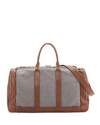 Men's Leather & Wool-Cashmere Duffel Bag/Weekender, Tan/Gray