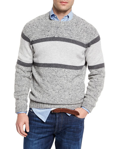 Striped Donegal Crewneck Sweater, Gray
