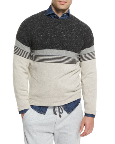 Donegal Colorblock Striped Sweater, Tan