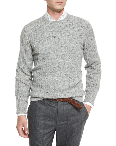 Donegal Crewneck Ribbed Sweater, Medium Gray