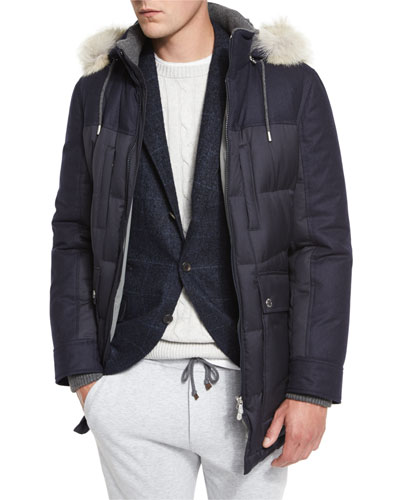 Mixed-Media Quilted Parka w/Fur-Trim Hood, Navy