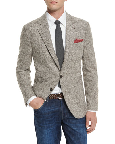 Herringbone Three-Button Sport Jacket, Farro