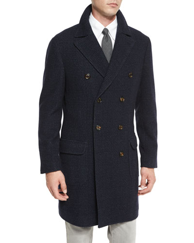 Glen Plaid Double-Breasted Topcoat, Navy