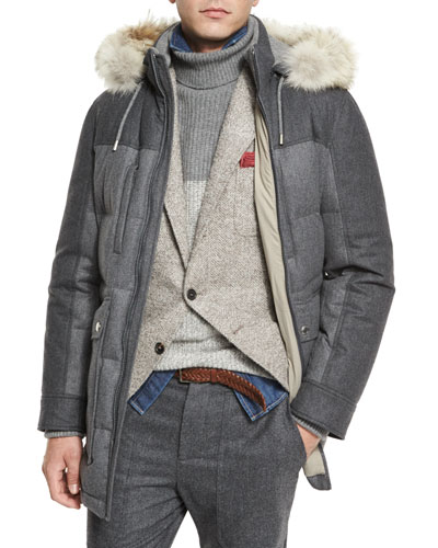 Mixed-Media Quilted Parka w/Fur-Trim Hood, Lead