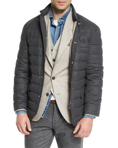 Quilted Wool-Blend Blazer Jacket, Anthracite