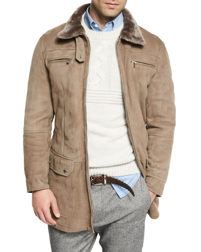 Twin-Face Lamb Suede Jacket w/Shearling Collar, Taupe